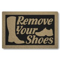 Tapete Capacho Remove Your Shoes - Preto
