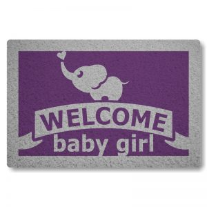 Tapete Capacho Welcome Baby Girl - Roxo